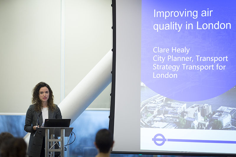 Clare Healey from Transport for London speaking at the event.