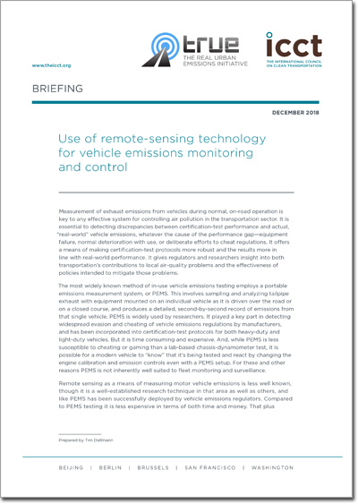 Use of remote-sensing technology for vehicle emissions monitoring and control